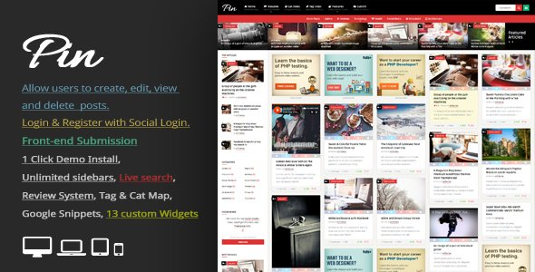 Pin - Pinterest Style Personal Masonry Blog Front-end Submission v5.2