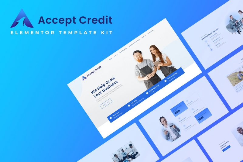 Accept Credit - Financial Services Elementor Template kit