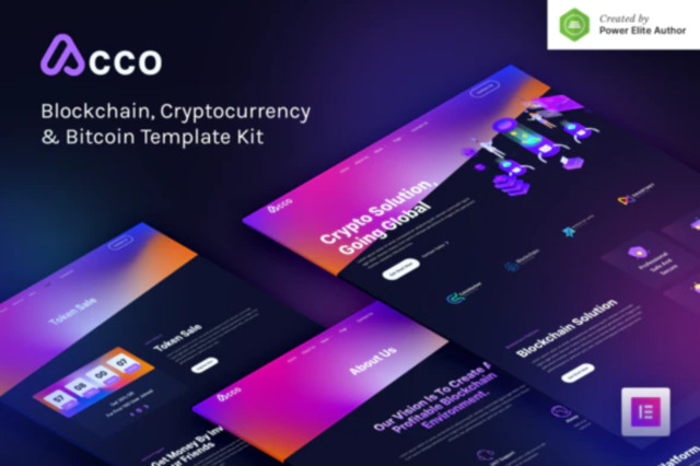 Acco – Blockchain Cryptocurrency & Bitcoin Elementor Template Kit