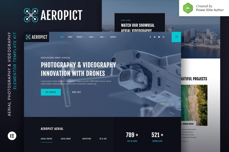 Aeropict – Drone Aerial Photography & Videography Elementor Template Kit