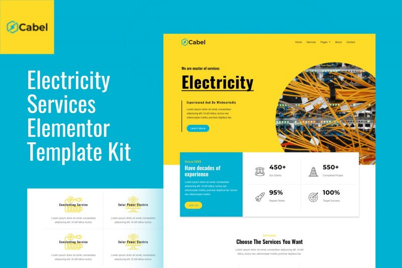 Cabel - Electricity Services Elementor Template Kit