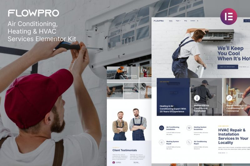 FlowPro — Air Conditioning Heating & HVAC Services Elementor Template Kit