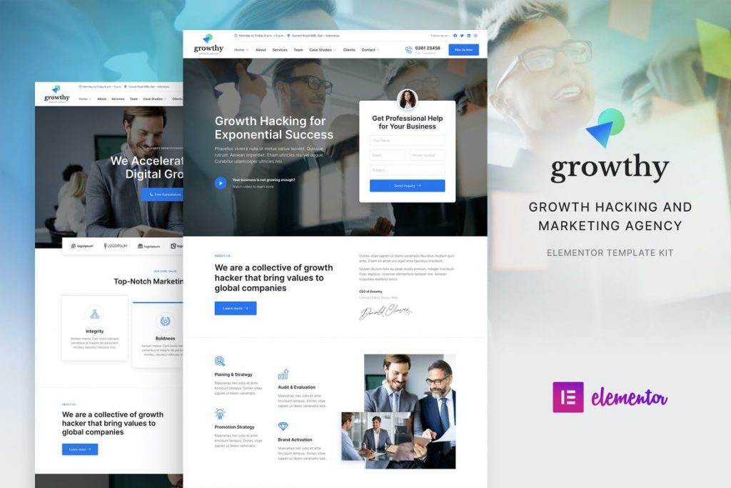 Growthy – Growth Hacking & Marketing Agency Elementor Template Kit