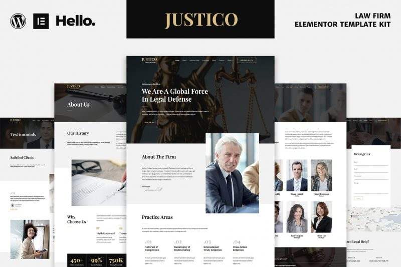 JUSTICO - Law Firm Elementor Template Kit