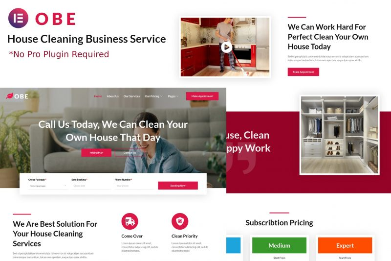 Obe - House Cleaning Business Elementor Template Kits