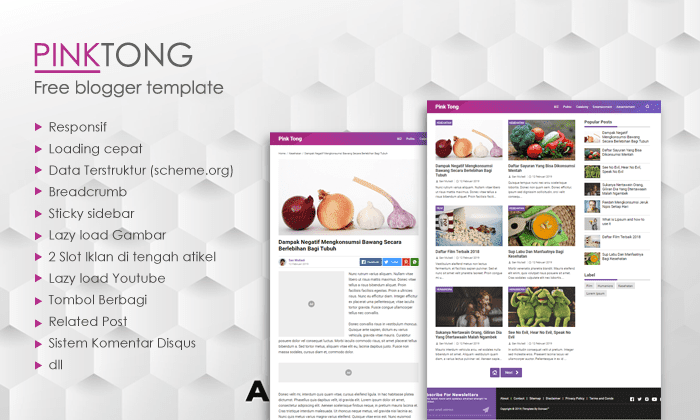 PinkTong - Template Blogger High Speed