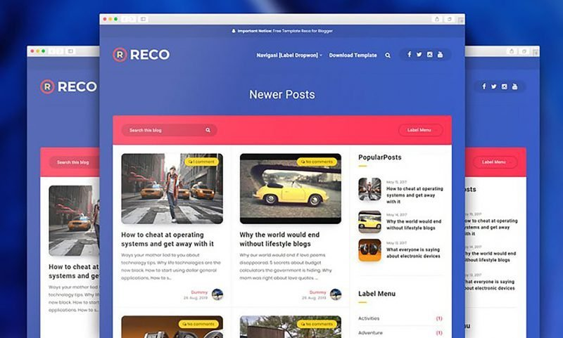 Reco for Blogger Template Premium v1.5
