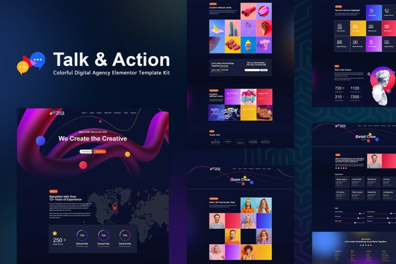 Talk & Action - Colorful Digital Agency Elementor Template Kit