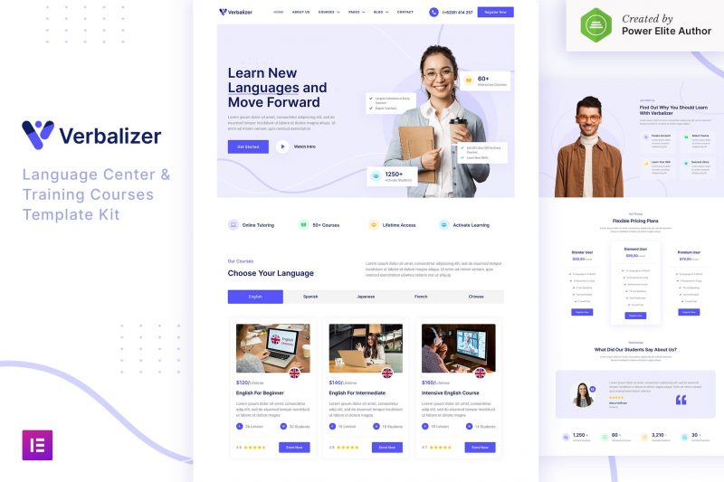 Verbalizer – Language Courses & Learning Center Elementor Template Kit