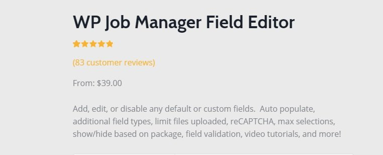 WP Job Manager Field Editor Add-on v1.9.2