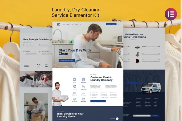 Wash & Rinse – Laundry & Dry Cleaning Service Elementor Template Kit