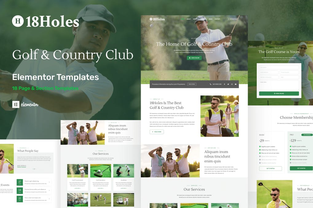 18Holes - Golf & Country Club Website Elementor Template Kit